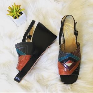 Shoes - Leather patchwork wedge sandals 8